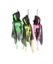 Halloween skelet in neon kleuren trend