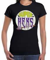 Halloween super heks verkleed t-shirt zwart voor dames trend
