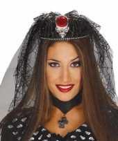 Halloween tiara met doodskop en spinnen sluier trend