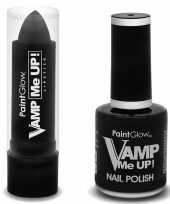 Halloween vampieren schmink set mat zwarte lippenstift en nagellak trend