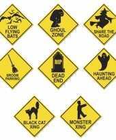 Halloween verkeersborden 4 stuks trend
