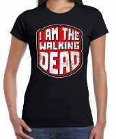 Halloween walking dead verkleed t-shirt zwart voor dames trend