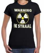 Halloween warning ik straal verkleed t-shirt zwart voor dames trend