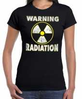 Halloween warning radiation verkleed t-shirt zwart voor dames trend