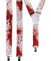 Halloween witte bretels met bloedvlekken voor volwassenen trend
