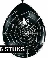 Halloween zwarte ballonnen met spinnenweb 16 stuks trend