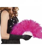 Hand waaier roze met veren trend