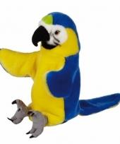 Handpop blauw gele ara papegaai pluche 25 cm trend