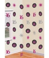 Hangdecoratie slingers roze 16 jaar trend