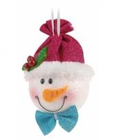 Hangdecoratie sneeuwpop 18 cm trend