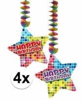 Hangversiering happy birthday jaar 4 stuks trend