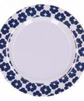 Hard kunststof bord 20 cm bloemenprint blauw wit trend