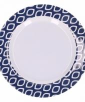 Hard kunststof bord 20 cm grafische print blauw wit trend