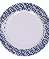 Hard kunststof bord 20 cm schubben print blauw wit trend