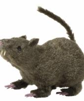 Harige decoratie rat grijs 21 cm trend