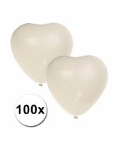 Hartjes ballonnen wit 100 stuks trend
