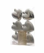 Hartjes kerstballen hangers zilver trend