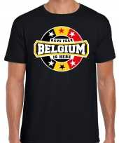Have fear belgium is here t-shirt voor belgie supporters zwart voor heren trend