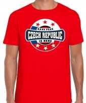 Have fear czech republic is here t-shirt voor tsjechie supporters rood voor heren trend