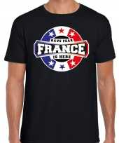 Have fear france is here t-shirt voor frankrijk supporters zwart voor heren trend