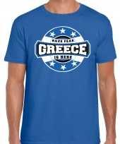 Have fear greece is here griekenland supporter t-shirt blauw voor heren trend