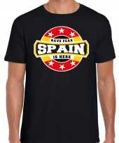Have fear spain is here t-shirt voor spanje supporters zwart voor heren trend