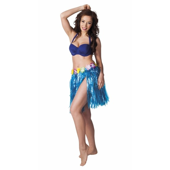 Hawaii rokje blauw 45 cm voor dames trend