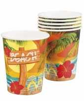 Hawaii thema bekertjes 6 stuks trend
