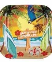 Hawaii thema bordjes 6 stuks trend