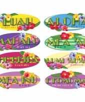 Hawaii thema decoratie borden 8 stuks trend