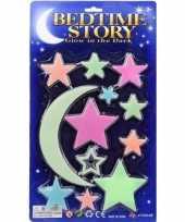 Heelal decoratie glow in the dark sterren maan 12 stuks trend