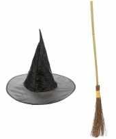 Heksen accessoires set hoed met bezem 100 cm voor meisjes trend