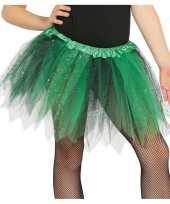 Heksen verkleed petticoat tutu groen zwart glitters voor meisjes trend
