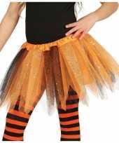 Heksen verkleed petticoat tutu oranje zwart glitters voor meisje trend