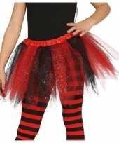 Heksen verkleed petticoat tutu zwart rood glitters voor meisjes trend