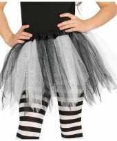 Heksen verkleed petticoat tutu zwart wit glitters voor meisjes trend