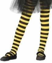 Heksen verkleedaccessoires panty maillot zwart geel voor meisjes trend