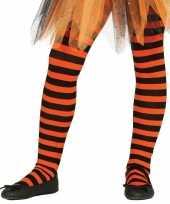 Heksen verkleedaccessoires panty maillot zwart oranje voor meisj trend