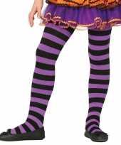 Heksen verkleedaccessoires panty maillot zwart paars voor meisje trend 10134486