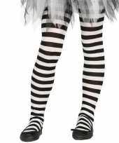 Heksen verkleedaccessoires panty maillot zwart wit voor meisjes trend