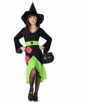 Heksen verkleedjurk zwart groen voor kinderen trend