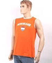 Heren mouwloos shirt oranje trend