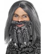 Heren piraten pruik grijs met baard trend