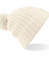 Heren winter muts creme wit met pompon trend