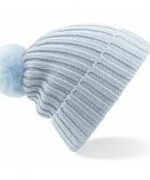 Heren winter muts lichtblauw met pompon trend
