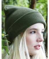 Heren winter muts olijf groen trend