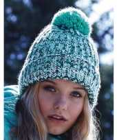 Heren winter muts turquoise mix met pompon trend