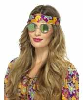 Hippie bril groene spiegelglazen voor volwassenen trend