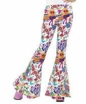 Hippie broek wit love voor dames trend