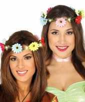 Hippie flower power verkleed bloemen hoofd krans voor dames trend